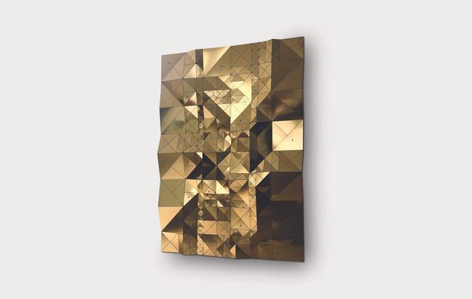 Rhizome and Connections in Gold/Blue Acrylic Laminate, Polyethylene Fiber, Vinyl, Plexiglass   96 x 72 in