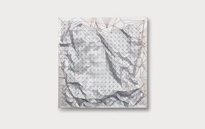 Rhizome in White Acrylic Laminate, Polyethylene Fiber, Elastic Threads, Canvas   48 x 48 in