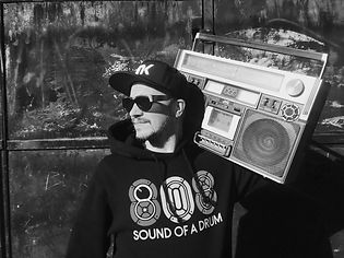 Qdup Boombox Press Picture Black and Whie
