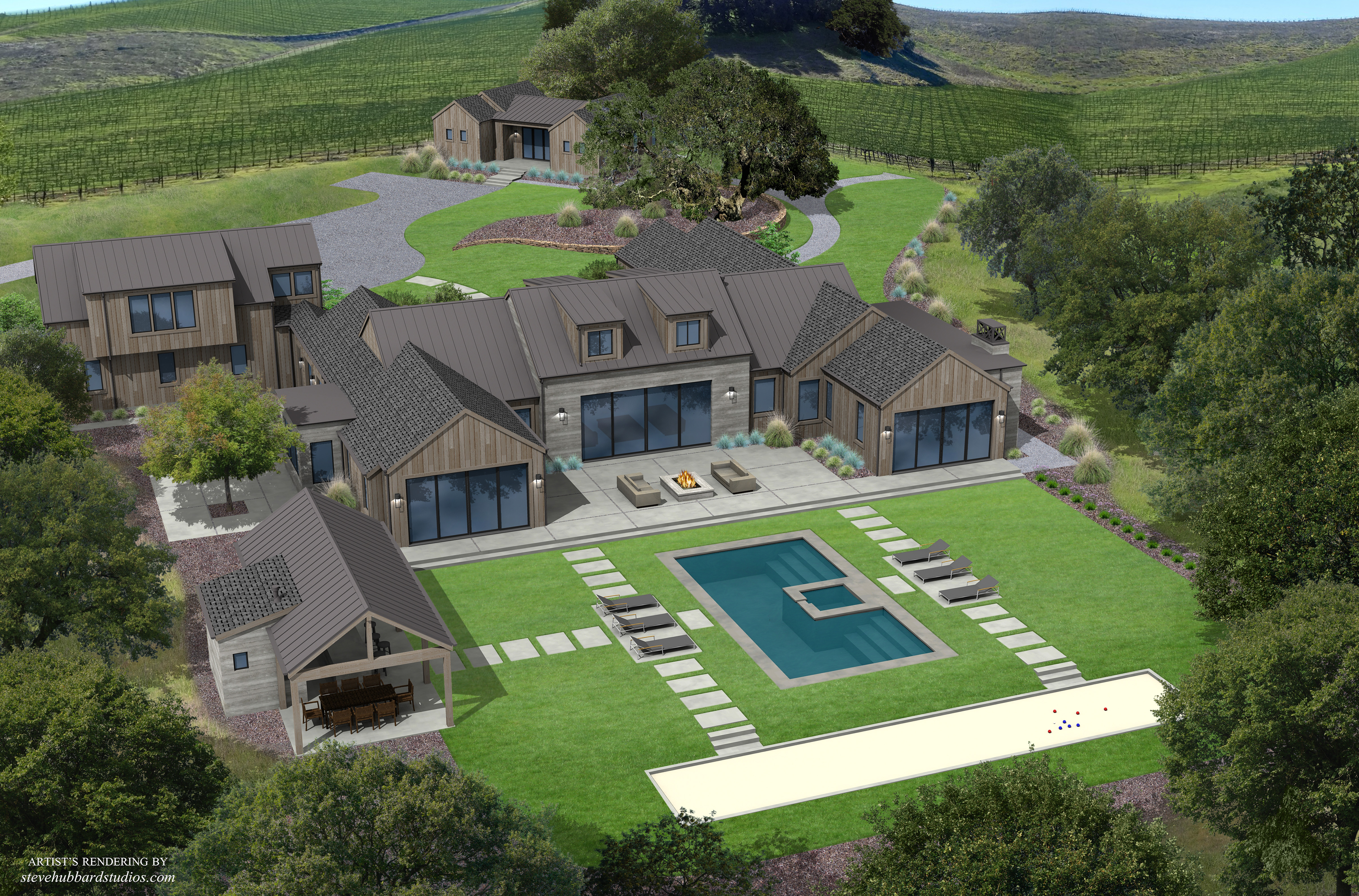 02 - SOSCOL CREEK, REAR VIEW RENDERING,