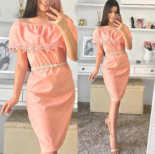 Vestido rose tubinho guippir