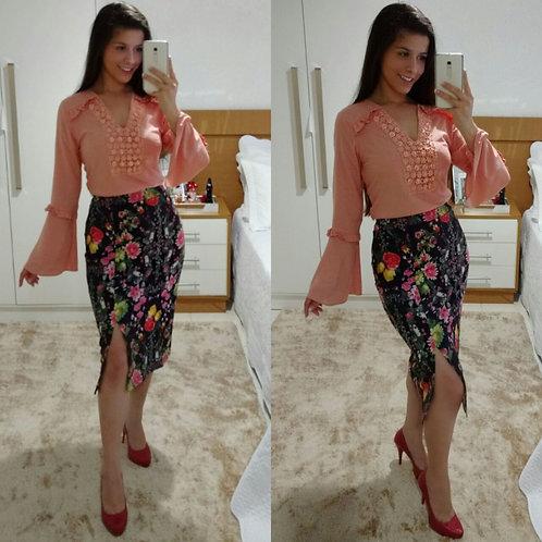 blusa manga flare