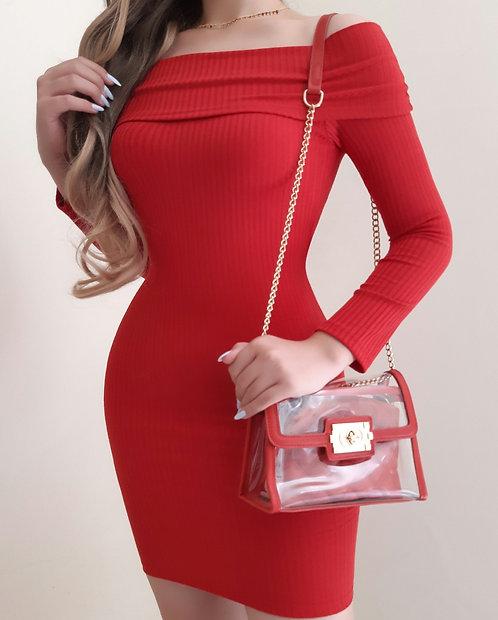 Vestido Juliette vermelho canelado.