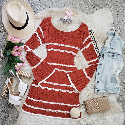 vestido tricot manga flare