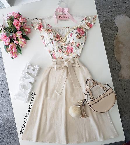 Blusa floral peplum (fundo brando)