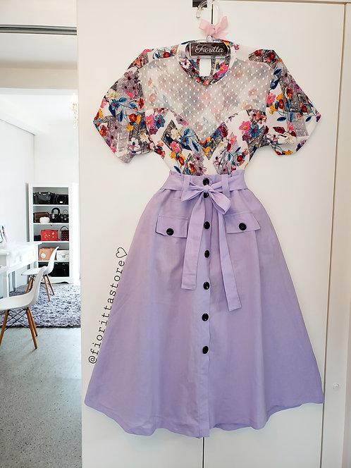 Blusa estampada floral decote princesa