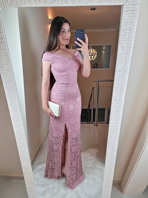 Vestido Gabriela longo rose.