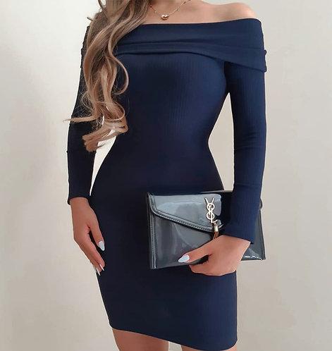 Vestido Juliette azul canelado.