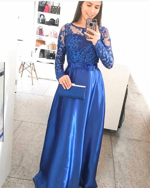 Vestido festa azul royal cetim longo manga renda
