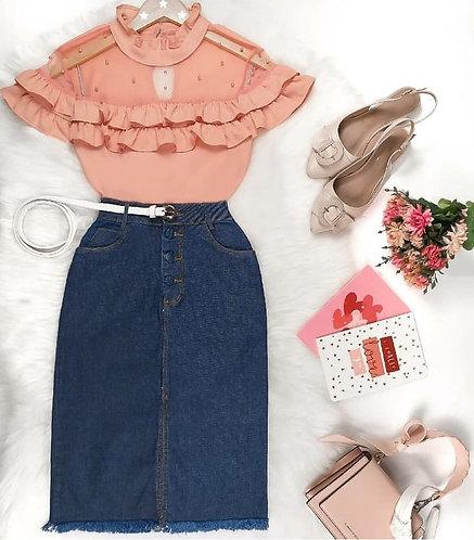 Blusa rose detalhe tule e perolas manga babadinhos