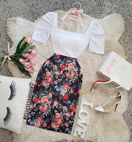 Saia floral lapis