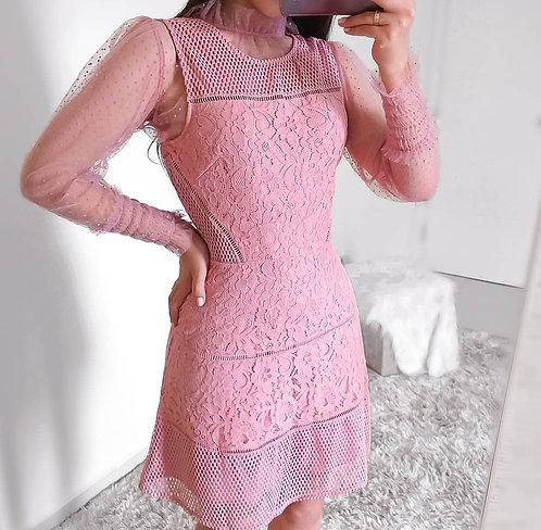 Vestido rose evasê renda