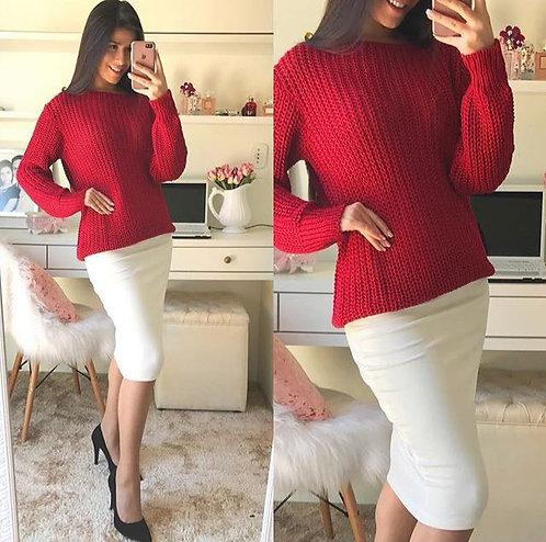 Blusa de tricot vermelha