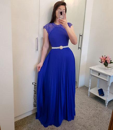 Body azul royal detalhes renda