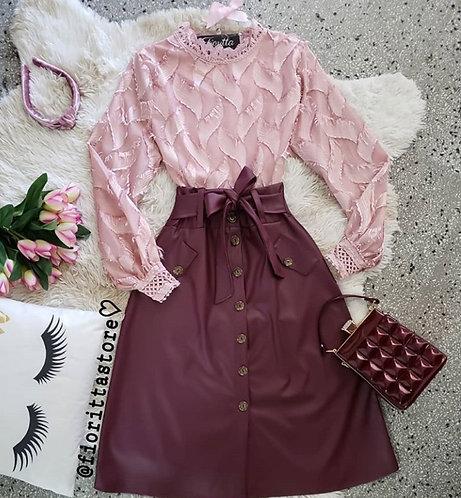 Blusa rose pelinhos