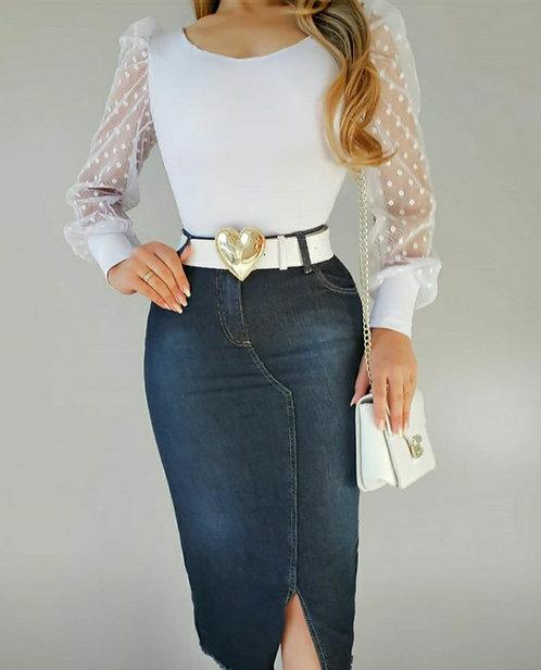 Saia jeans Amanda .
