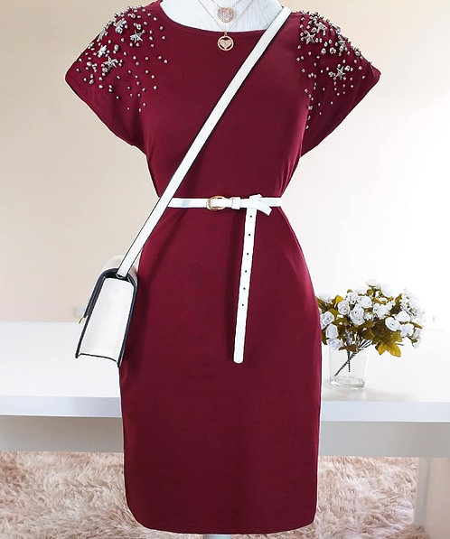 Vestido marsala detalhes bolso e bordado
