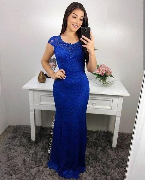 Vestido de festa sereia azul royal