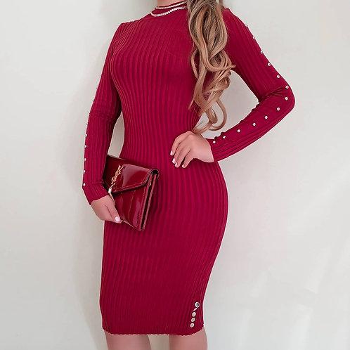 Vestido Mayara marsala.