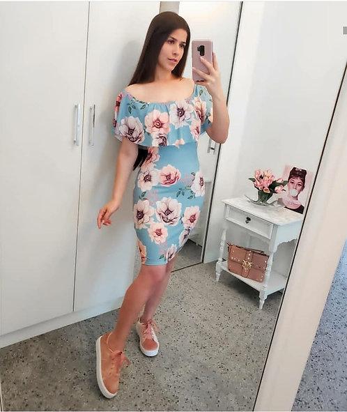 Vestido ciganinha  floral babado
