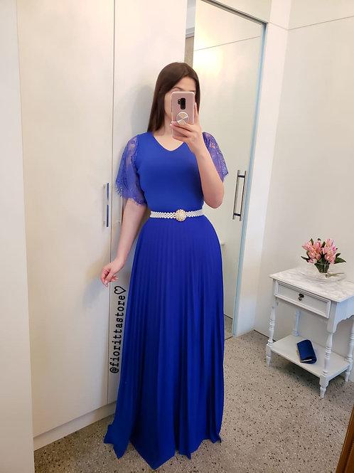 Saia azul royal longa plissada