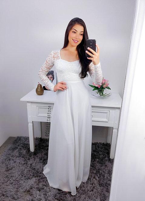 Vestido de festa branco manga longa