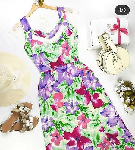 vestido longo floral cetim .