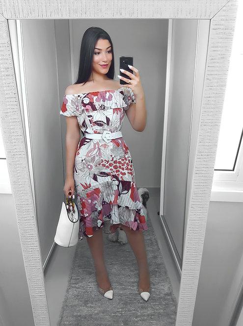 Vestido floral babados