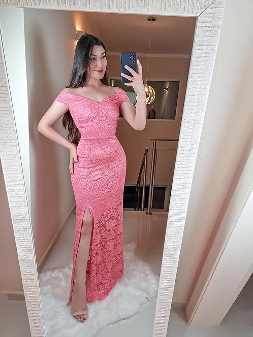 Vestido Gabriela longo coral.