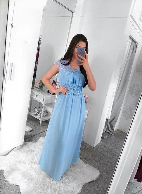 Vestido festa azul bebê longo