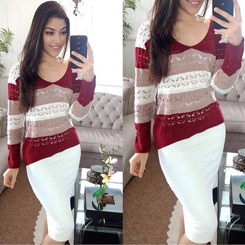 Blusa tricot vermelha rose e branco