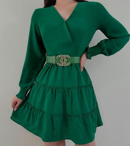 Vestido Helena verde esmeralda.
