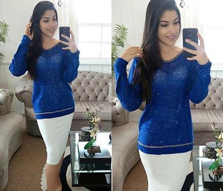 Blusa tricot azul marinho
