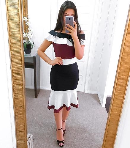 Vestido tricolor midi ombro a ombro ( preto marsala e branco)