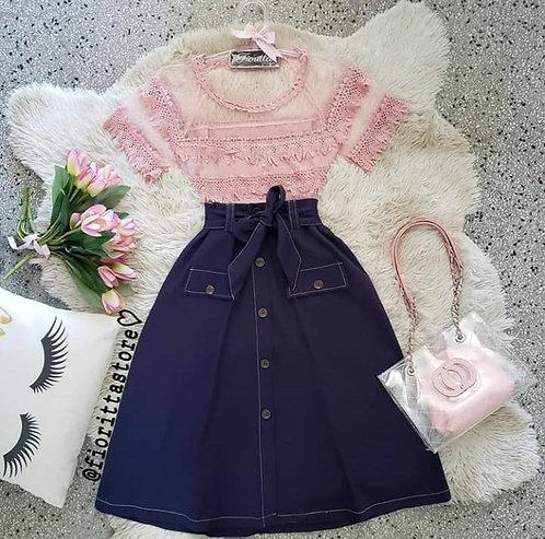 Blusa rose tule detalhes guippir
