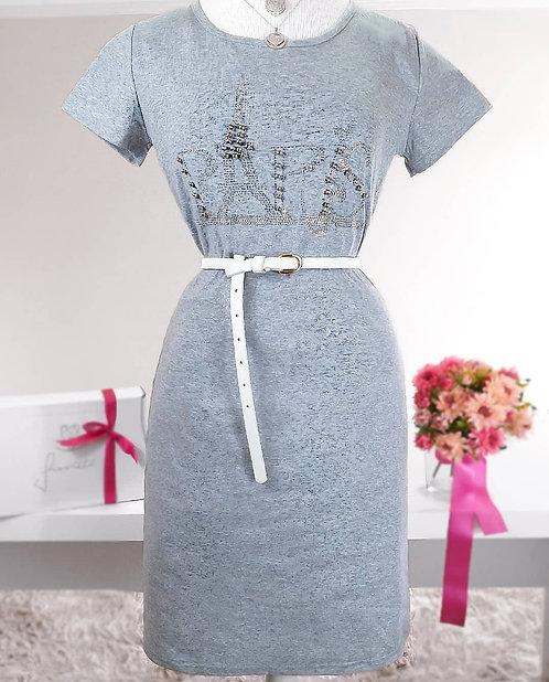 Vestido cinza detalhes brilho