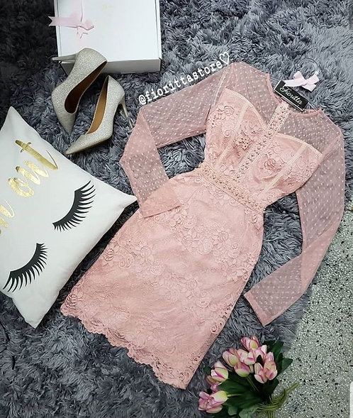 Vestido rose midi renda detalhe pérolas