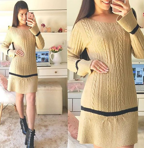Vestido lã bege