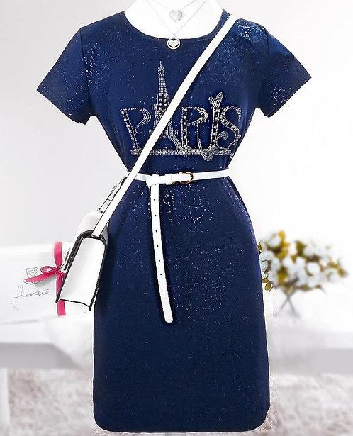 Vestido azul marinho detalhes brilho e bordado
