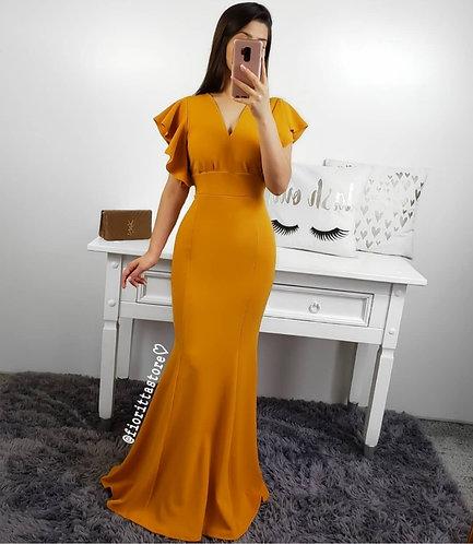 Vestido mostarda longo sereia