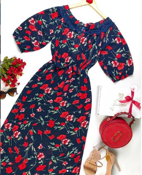 Vestido longo flores vermelhas