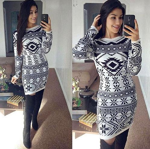 Vestido lã P&banco faixas