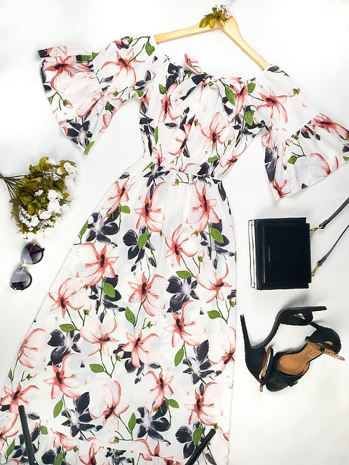 Vestido longo floral ciganinha detalhes babados