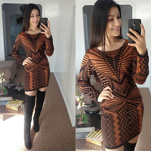 Vestido lã P&caramelo