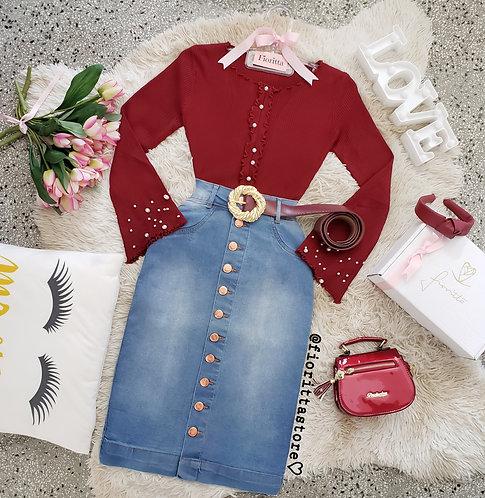 Saia jeans midi detalhes botões