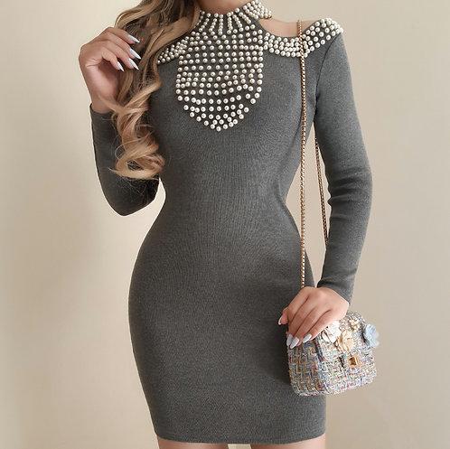 Vestido Giovanna cinza tricot.