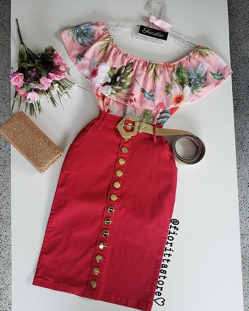 Blusa estampada fundo rose