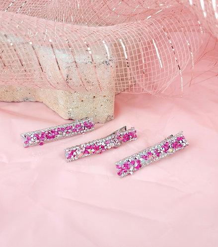 Grampos sparkle pink.
