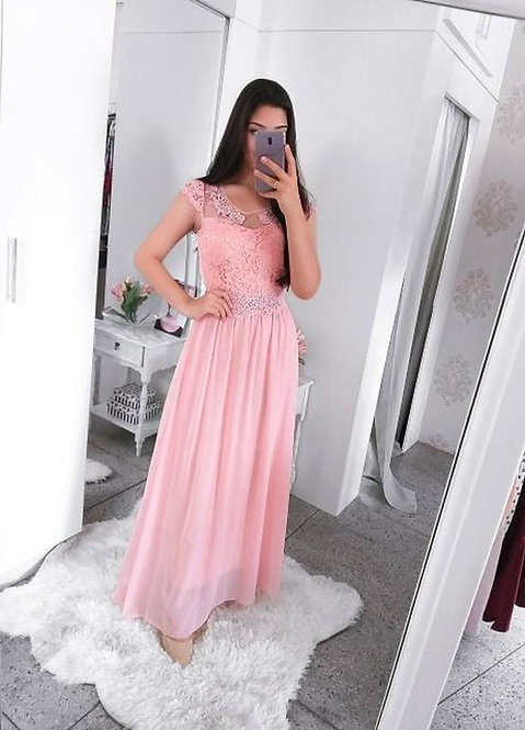 Vestido festa rose longo detalhes