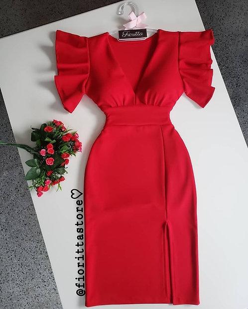 Vestido vermelho tubinho fenda